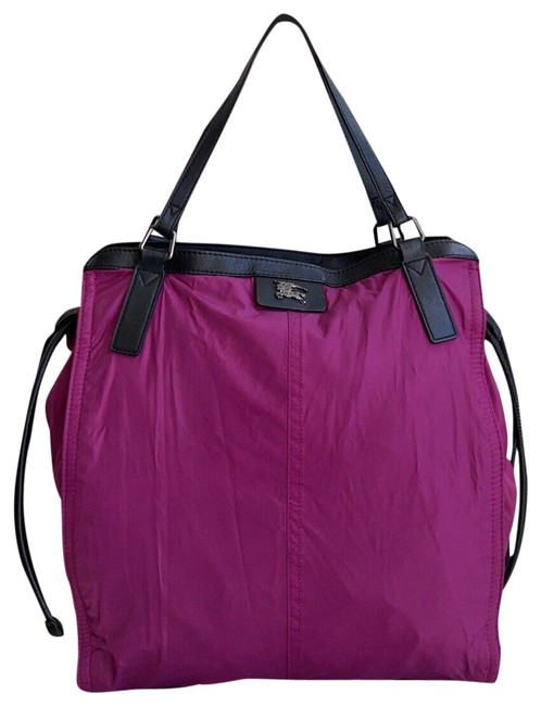 Item - Bag Packable Buckleigh Nova Check Purple Nylon & Leather Tote