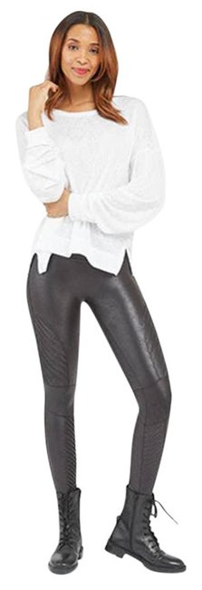 Item - Black Faux Leather Moto Stretch Womens Small Activewear Bottoms Size 6 (S, 28)