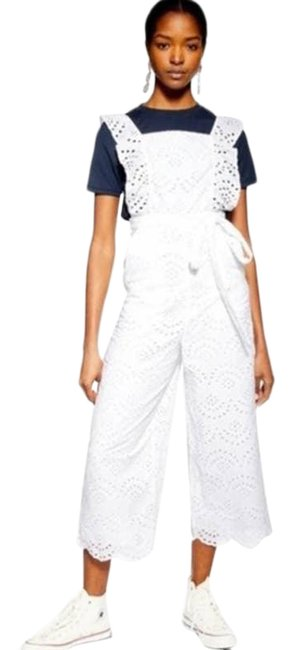 Item - White Broderie Eyelet Tie Waist Embroidered Ruffle Size 10 Romper/Jumpsuit