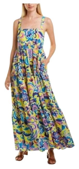 Item - Yellow Blue Tiered Taffeta In Curly Floral Long Casual Maxi Dress Size 10 (M)
