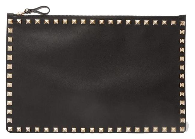 Item - Clutch New Rockstud Envelope Pouch New Black Leather Tote
