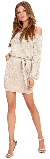 Item - Cream Glisten Closely Beige Silver Off-the-shoulder Large Short Night Out Dress Size 14 (L)
