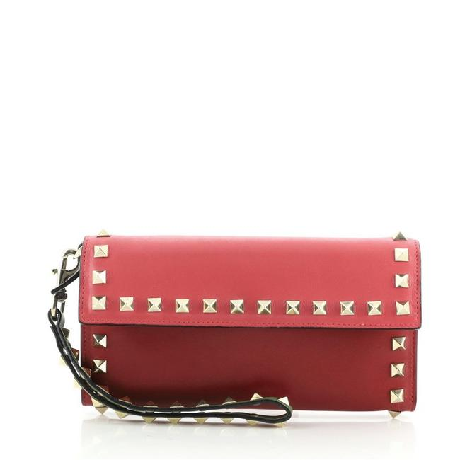 Item - Rockstud Flap Wristlet Wallet Small Pink Red Leather Clutch