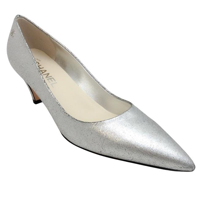 Item - Silver Crackle Pointed Toe Pumps Size EU 38 (Approx. US 8) Regular (M, B)