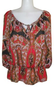 Cato Top Black, Red & Brown pattern