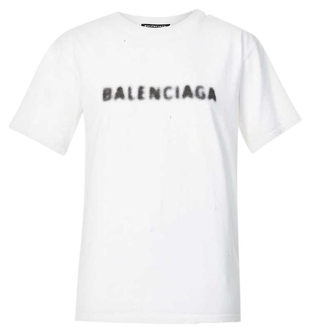 Item - White Jersey Branded Cotton-jersey T-shirt Tee Shirt Size 8 (M)