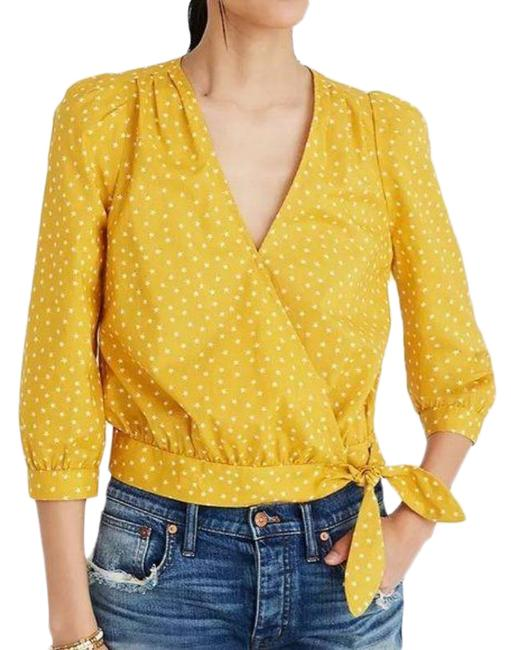 Item - Yellow White Star Scatter Wrap Crop Blouse Size 4 (S)