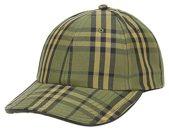 Item - Green Checked Cotton M-size Cap Hat