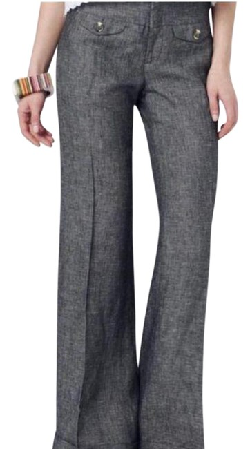 Item - Gray Black Anthro Elevensies Linen Cuffed Pants Size 0 (XS, 25)