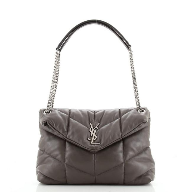 Item - Lou Monogram Loulou Puffer Quilted Small Gray Leather Shoulder Bag