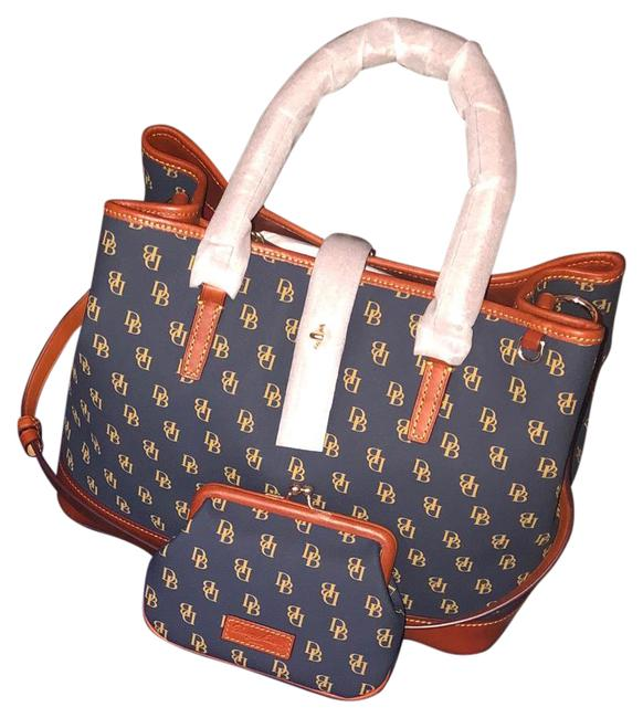 Item - Perry Ng9066 Blue Brown Coated Canvas Satchel