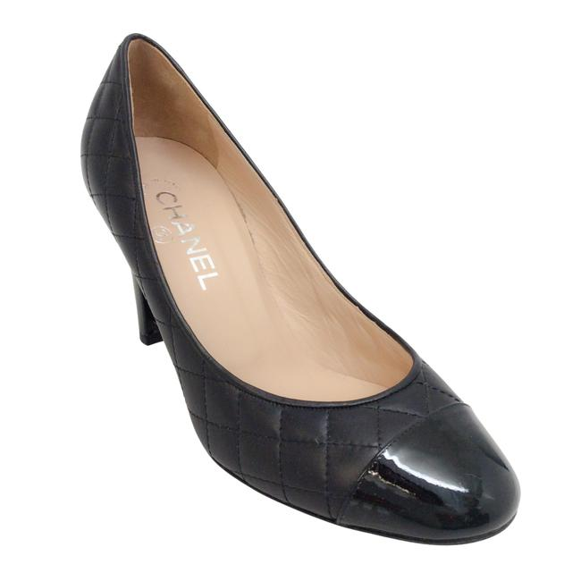 Item - Black Quilted with Patent Cap Toe Wedges Size EU 38 (Approx. US 8) Regular (M, B)