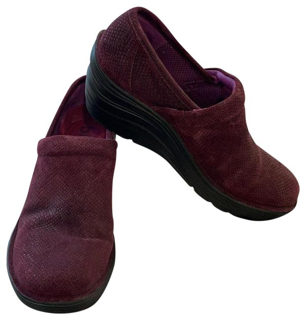 Item - Maroon with Near Matching Pattern Leather Mules/Slides Size US 8 Narrow (Aa, N)