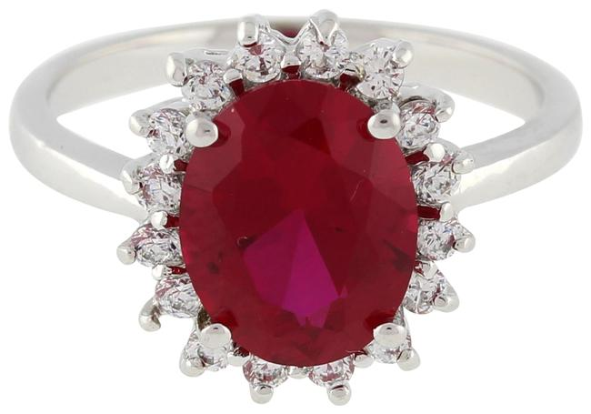 Item - White Gold Estate Solitaire Ruby Gemstone Cz Accent 14k Size 7 Ring