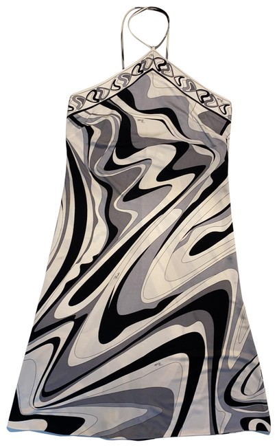 Item - Multi White Black Gray Mid-length Night Out Dress Size 4 (S)