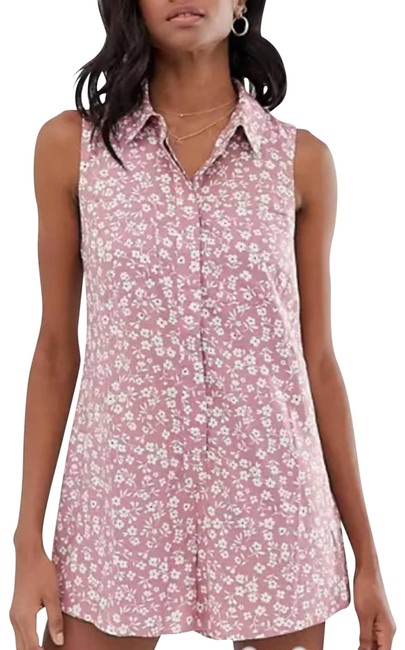 Item - Pink Sleeveless Shirt Swing Ditsy Floral 6 Romper/Jumpsuit
