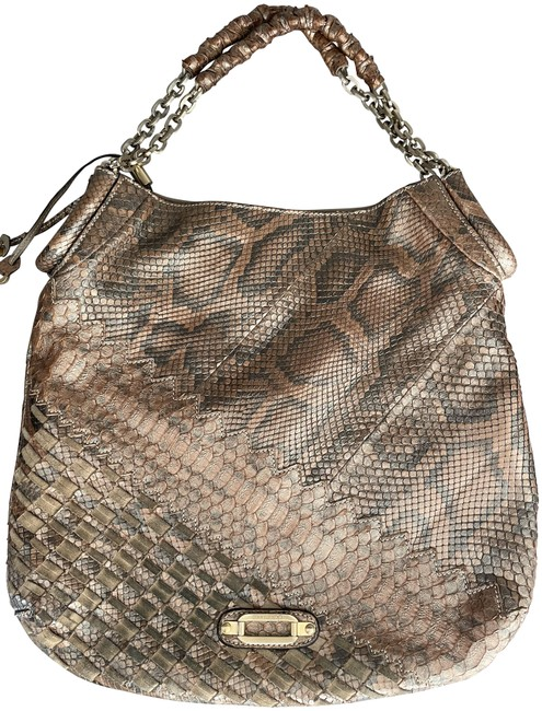 Item - Python Suede with Gold Accents Gray and Beige Leather Shoulder Bag