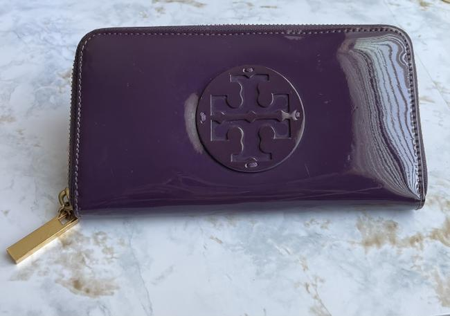 Item - Purple Stacked Patent Leather Continental Wallet