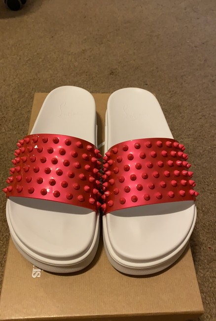 Item - Pink and White Pool Fun Donna Flat Patent Sandals Size EU 38.5 (Approx. US 8.5) Regular (M, B)