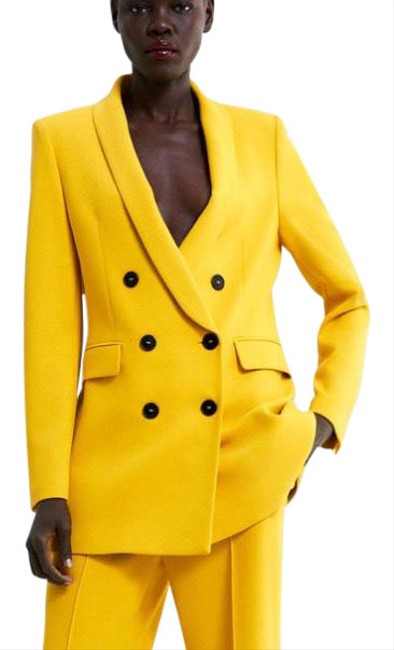 Item - Mustard Double Breasted Blazer Size 4 (S)