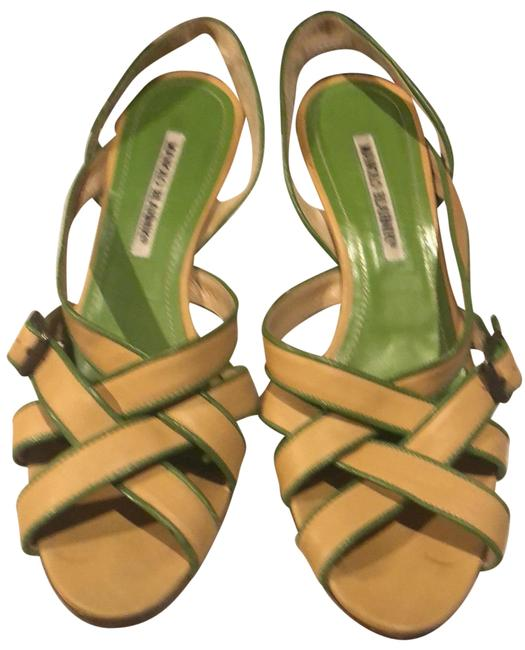 Item - Tan with Green Trim Leather Strappy Sandals Size EU 39 (Approx. US 9) Regular (M, B)