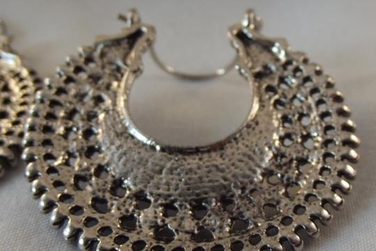 Vintage Silver tone Tibetan Hoop Earrings