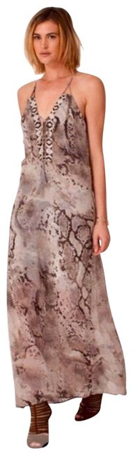 Item - Gray and Brown Snakeskin Print Long Casual Maxi Dress Size 4 (S)