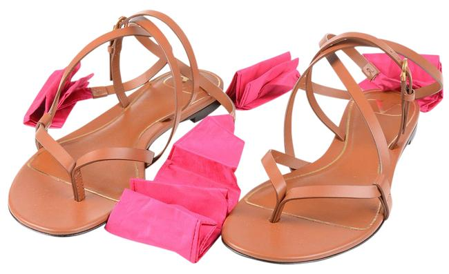 Item - Camel Leather Thong Sandals with Ribbon Flats Size US 8 Regular (M, B)