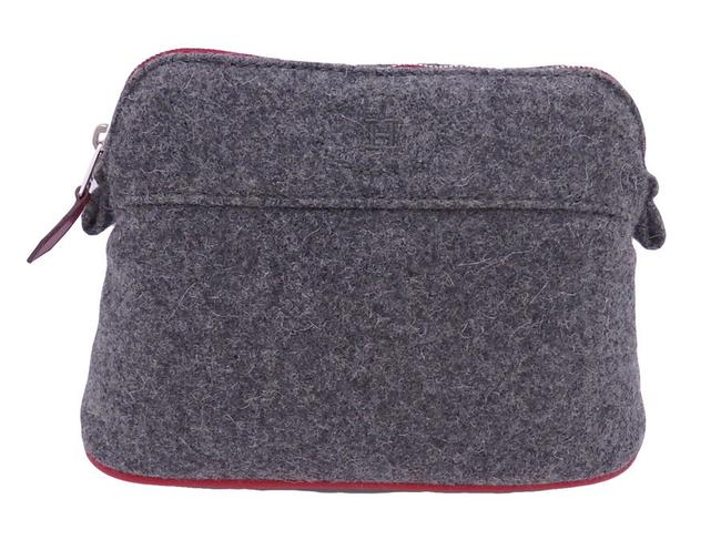 Item - Mini Pouch Bored Wool Multi Case Ladies Gray / Red Color Felt Clutch