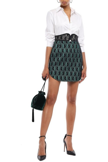Item - Black Green Two Tone Lace Bonded Skirt Size 4 (S, 27)