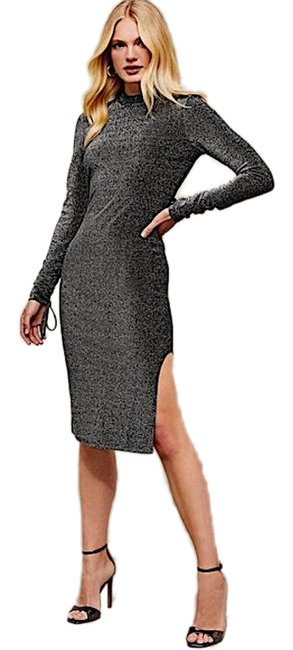 Item - Black/Silver Glitter Open Midi Cocktail Mid-length Night Out Dress Size 2 (XS)