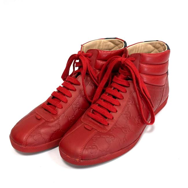 Item - Red High Top Leather Sneakers Size US 6.5 Regular (M, B)