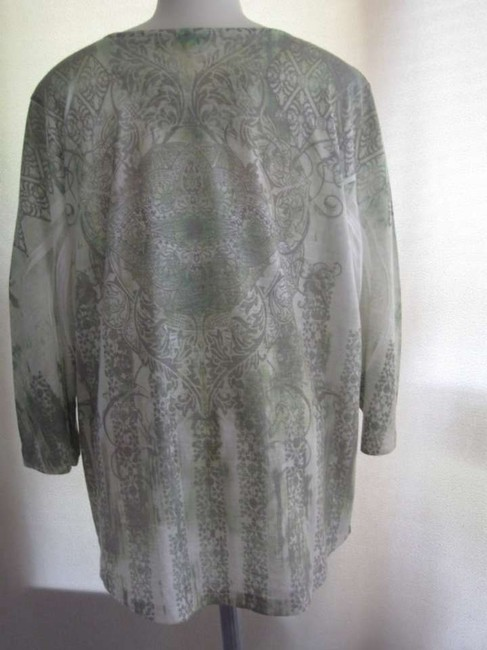 Chico's Top Light Green w/ Gray designs and embellishments