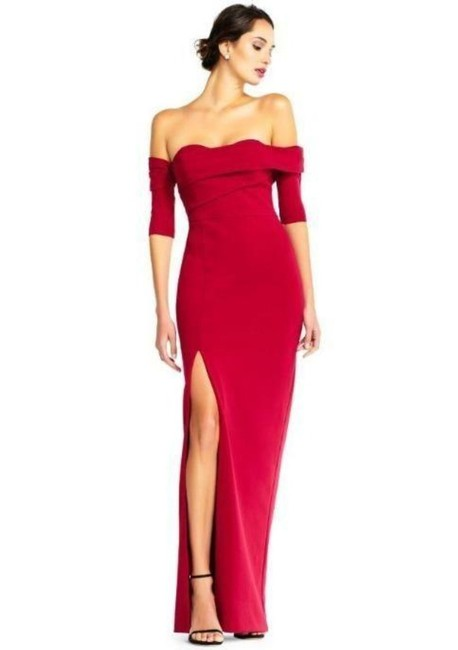 Item - Ruby Red Off Shoulder Column Gown with Thigh High Slit Long Formal Dress Size 14 (L)