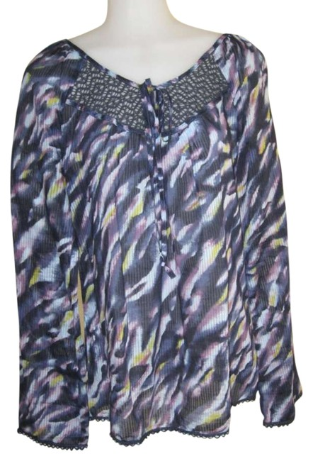 Preload https://img-static.tradesy.com/item/293207/to-the-max-blue-purple-and-yellow-pattern-blouse-size-10-m-0-0-650-650.jpg