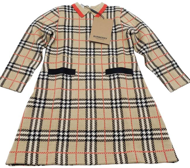 Item - Vintage Check Jacquard Wool Kids Mid-length Short Casual Dress Size OS (one size)
