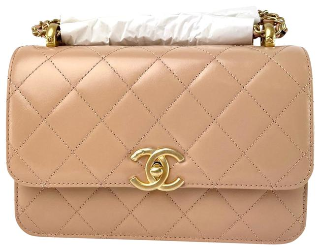 Item - Classic Flap Perfect Fit Small with Adjustable Strap Beige Calfskin Leather Cross Body Bag