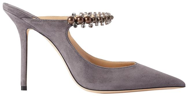 Item - Gray Bing 100 Crystal and Faux Pearl-embellished Suede Mules Formal Shoes Size EU 37 (Approx. US 7) Regular (M, B)