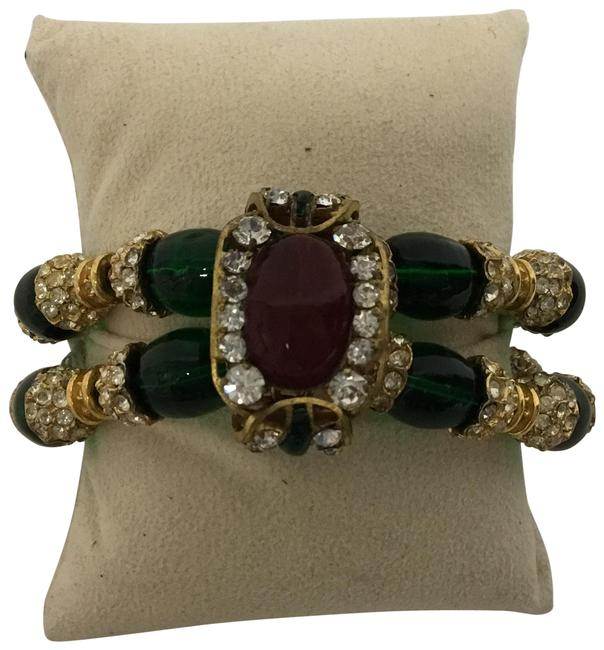 Item - Gold Vintage Gripoix with Large Stone and Crystals Bracelet