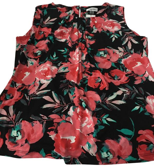 Item - Floral Black & Pink/Red. Sleeveless S94cm76f Blouse Size 16 (XL, Plus 0x)