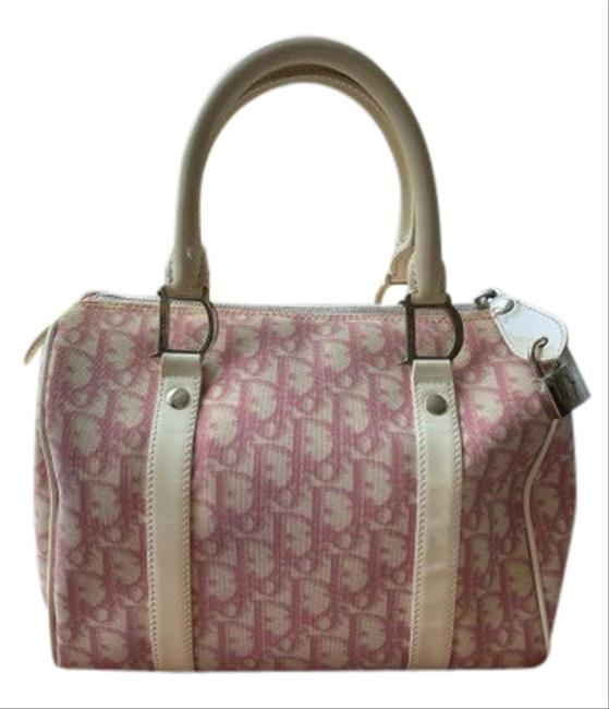 Item - Pink and White Canvas Satchel