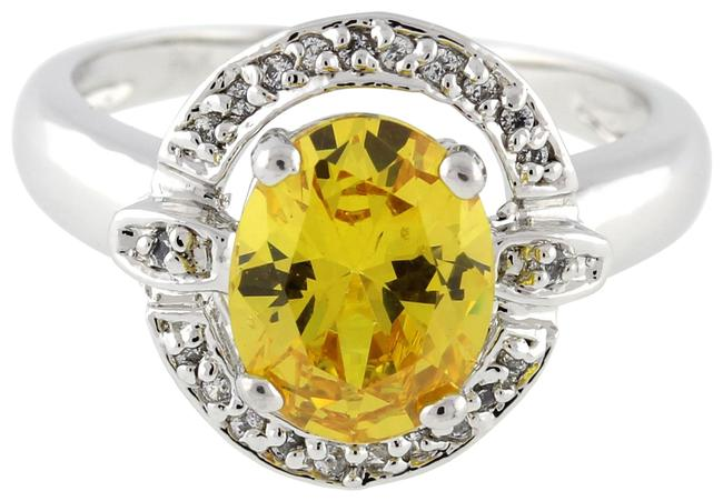Item - White Gold Yellow Gemstone Solitaire Diamond Accent Halo 14k Ring
