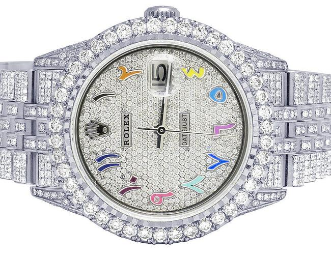 Item - Mens Ladies Stainless Steel Datejust 36mm 16014 Iced Arabic Dial Diamond 15.0 Ct Watch