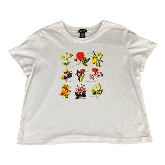 Item - White Floral Graphic Print Crop Tee Shirt Size 12 (L)