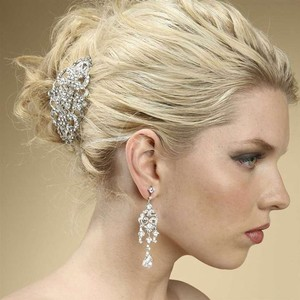 Mariell Silver Art Deco Rhinestone Barrette Hair Accessory
