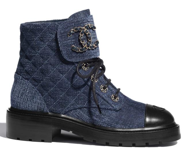 Item - Blue 21a Black Quilted Cc Chain Combat Lace Up Tie Ankle Boots/Booties Size EU 38.5 (Approx. US 8.5) Regular (M, B)