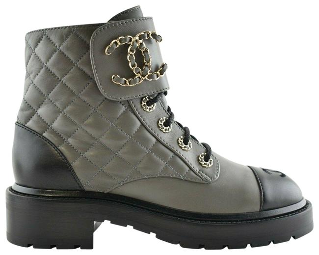 Item - Grey 21a Black Quilted Cc Chain Combat Lace Up Tie Ankle Boots/Booties Size EU 37 (Approx. US 7) Regular (M, B)