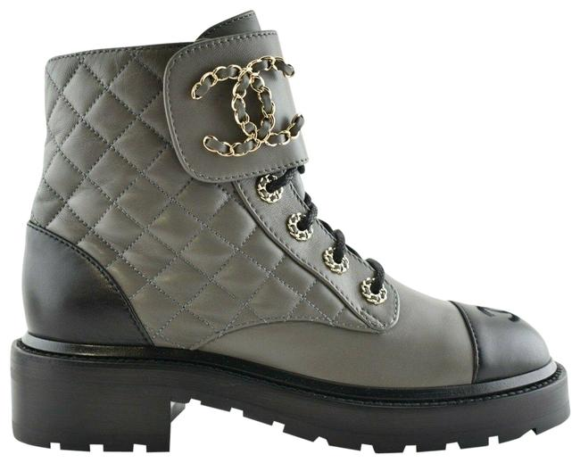 Item - Grey 21a Black Quilted Cc Chain Combat Lace Up Tie Ankle Boots/Booties Size EU 39 (Approx. US 9) Regular (M, B)
