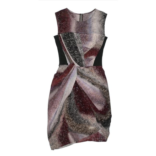 Item - Gray Silk Multicolored Printed Mid-length Formal Dress Size 6 (S)