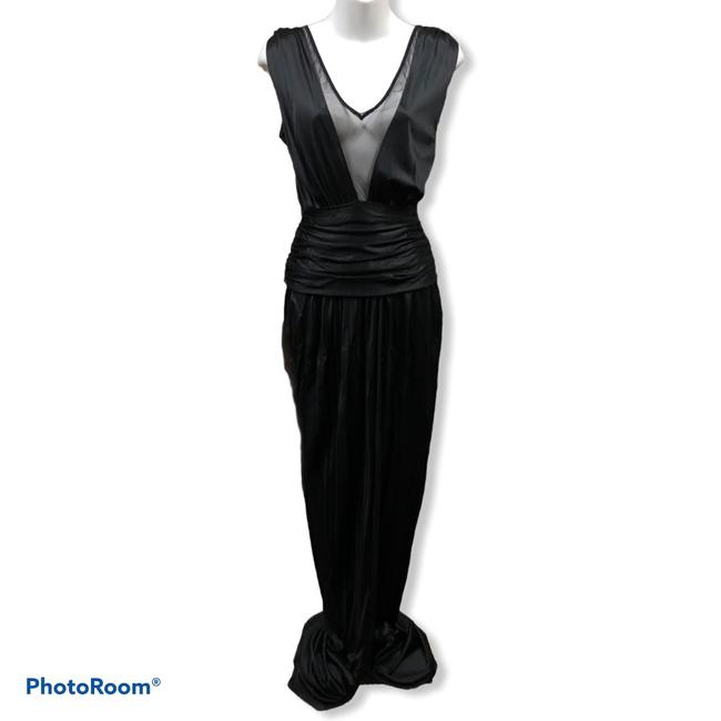 Item - Black Jersey Mesh Gown Long Cocktail Dress Size 4 (S)